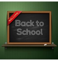 Back to school blackboard on the shelf vector image vector image