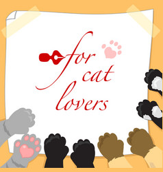 for cat lovers page with paws vector image vector image
