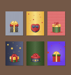 gift box greeting card with present vector image
