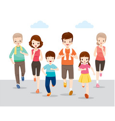 Happy family running together for good health vector