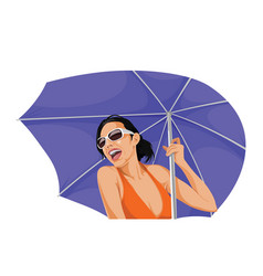 happy woman holding an umbrella vector image