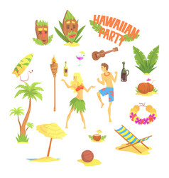 hawaiian party set hawaii symbols vector image