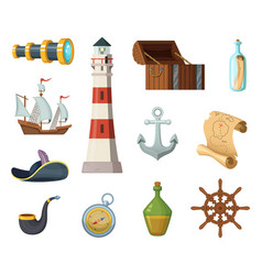 marine objects chest compass treasure vector image