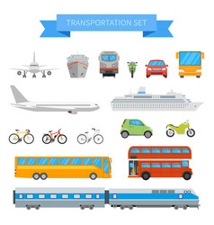 set of different transportation vehicles vector image vector image