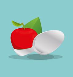 apple vegan food nutrition natural vector image
