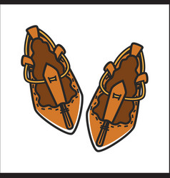 Bulgarian traditional ethnic woman shoes tsarvuli vector