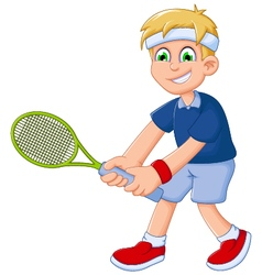 funny boy cartoon playing tennis vector image