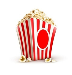 paper bag full of popcorn vector image vector image