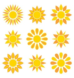 Sun collection icons vector image vector image