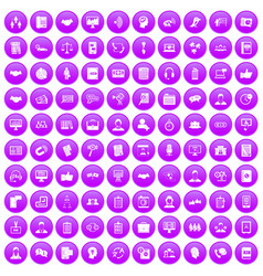 100 discussion icons set purple vector image vector image