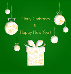 abstract green christmas balls and gifts cutted vector image vector image
