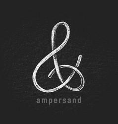 chalk ampersand hand-drawn on grunge vector image vector image