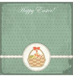 easter card in vintage style - basket of easter eg vector image vector image