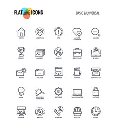 flat line icons design-basic and universal vector image vector image