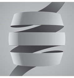 Grey fabric curved ribbon on grey background vector image