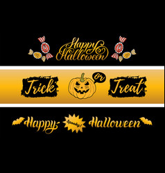 happy halloween banners set all saints eve vector image vector image