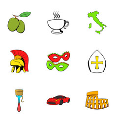 italian travel icons set cartoon style vector image vector image