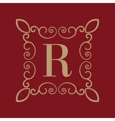 Monogram letter R Calligraphic ornament Gold vector image