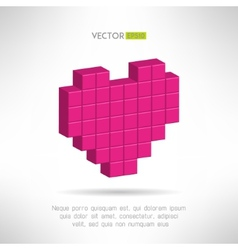 Pink heart icon in special pixel flat design vector image vector image