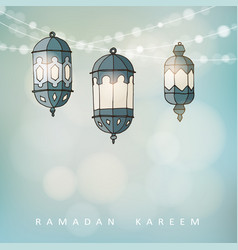 ramadan lluminated arabic lanterns with a string vector image