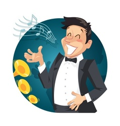 Singer sing with orchestra vector image vector image