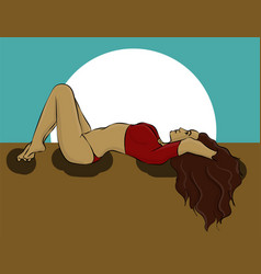 A woman is lying in a red bathing suit eps 8 vector