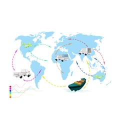 A World Travel Map of Transportation Vehicles vector image