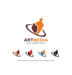 Art media logo template design vector