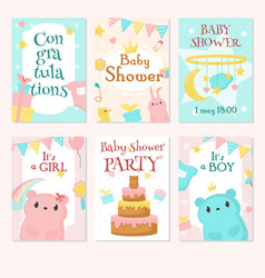 baby shower invitation template set vector image