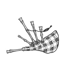bagpipes sketch engraving vector image
