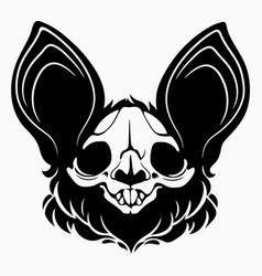 Bat skull with black hair and big ears vector