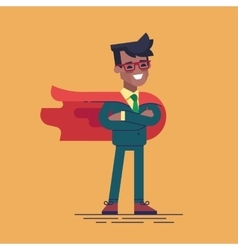 Black man in formal suit and red cape superhero vector