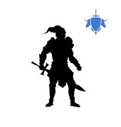 Black silhouette of medieval knight vector