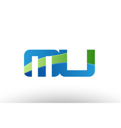 Blue green mu m u alphabet letter logo vector