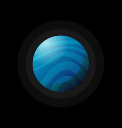 blue space planet on black vector image