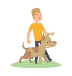 Boy and dog isolated on white background vector image