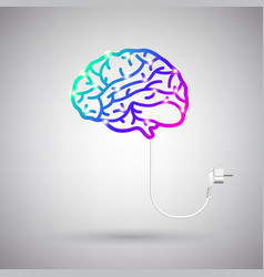 brain with electric wire and plug vector image