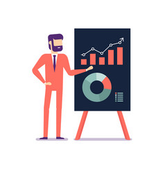 businessman presents a report using infographics vector image
