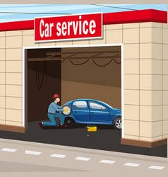 Car service garage concept cartoon style vector
