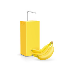 cardboard pack with banana juice vector image