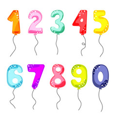 cartoon balloon numbers for birthday kids party vector image