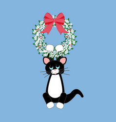 cat in christmas wreath vector image
