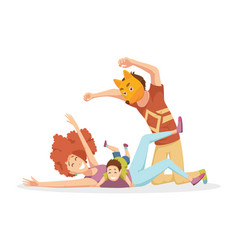 cheerful young family with kids laughing and have vector image