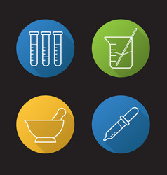 chemical laboratory flat linear long shadow icons vector image