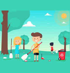 Children are sweeping and cleaning the playground vector