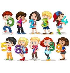 Children holding number zero to nine vector