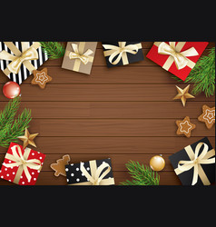 christmas frame with copy space for text on brown vector image