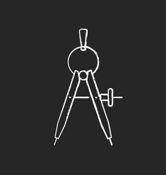 Compass chalk white icon on black background vector