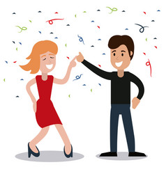 couple dancing party confetti celebration vector image