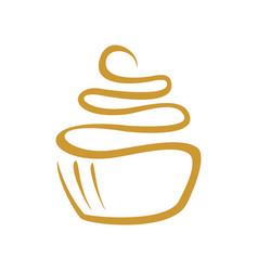 Cup cake line art symbol logo design vector